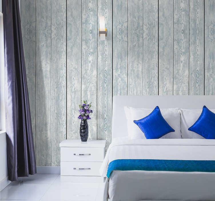 TenVinilo. Papel pintado madera blanca pared. Madera blanca en papel pintado para decorar la pared de tu hogar de un modo elegante y sobrilo. Un diseño bonito para dar personalidad a tus paredes.