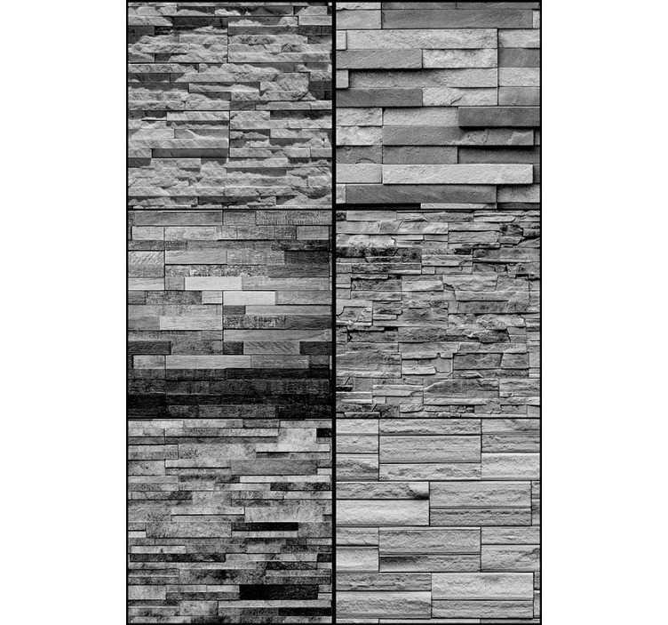 TenVinilo. Papel pintado piedra composición en gris. Papel pintado imitación piedra de color gris para decorar las paredes de tu hogar y darle un toque elegante Este diseño está formado por una composición de varios estilos de piedra que harán de tu casa un sitio más bonito , dará profundidad a tus superficies y color a tus paredes