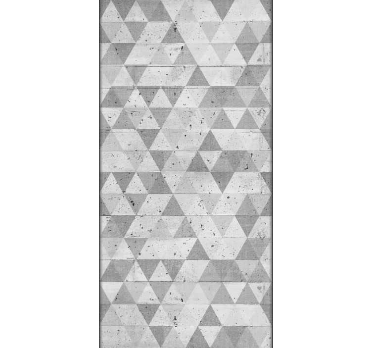 TenVinilo. Papel pintado hormigón vertical con triángulos. Papel efecto cemento de color gris con triangulos integrados en la textura con un color gris más suave. Un producto bonito para tus estancias del hogar.