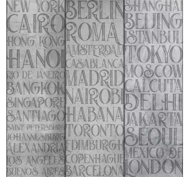 TenStickers. Concrete Cities Letter Wallpaper. This concrete style wallpaper with the name of the cities around the world it's perfect to decorate your living room. Easy to apply.