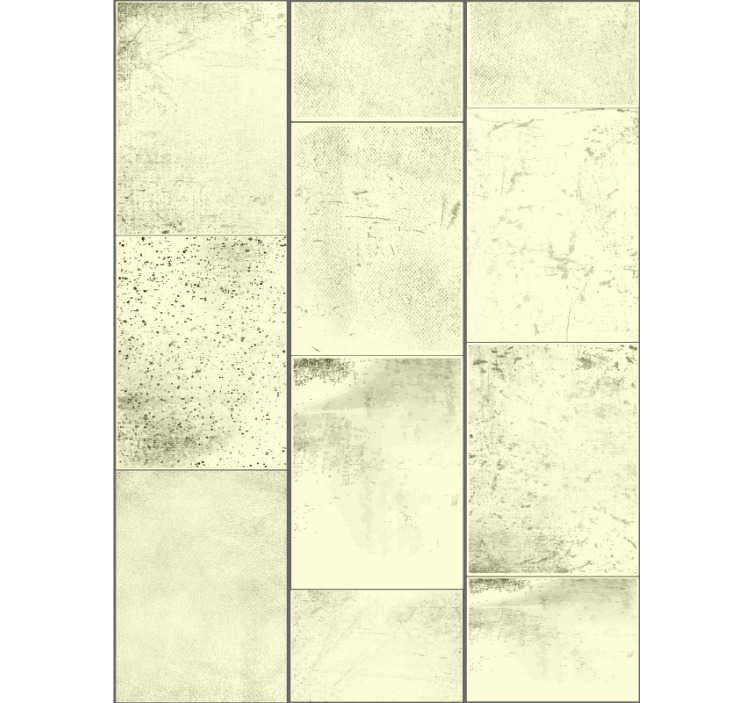 TenStickers. Ador tapetul cu textura concretă. Tapet fantastic din beton cu un model compus din dreptunghiuri în nuanțe de galben pătate în negru ideal pentru decorarea camerei de zi.
