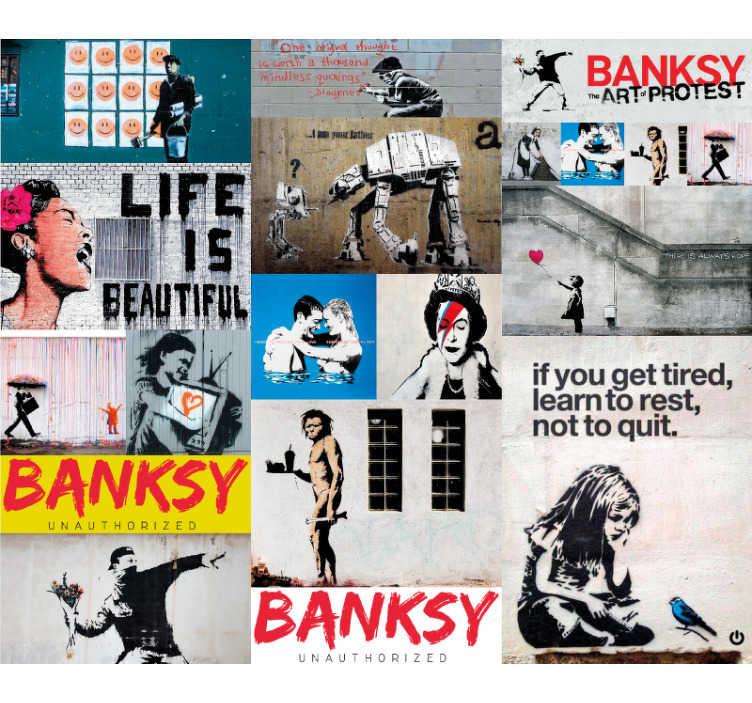 Tenstickers. Pankkikollaasi abstrakti tapetti. Sinulla on omat rahataidetta kotonasi tällä tapetilla. Tämä muotoilu sisältää kaikki nämä tunnetut kappaleet!