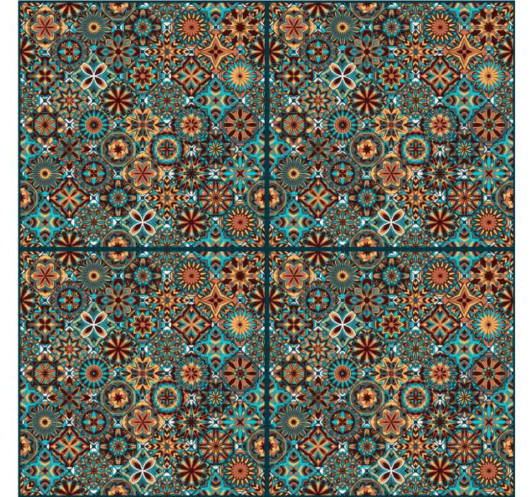 TenVinilo. Papel pintado ornamental azulejos portugueses. Papel pintado de azulejos portugueses ideal para decorar las paredes de tu cocina o comedor. Un patrón que quedará estupendo empapelando tu hogar.