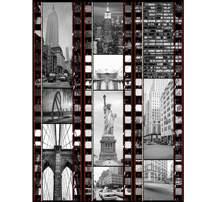 TenStickers. Collage of New York Wallpaper. If you love the big apple, and want to be reminded of your  favourite city then this New York wallpaper is exactly what you've been looking for.
