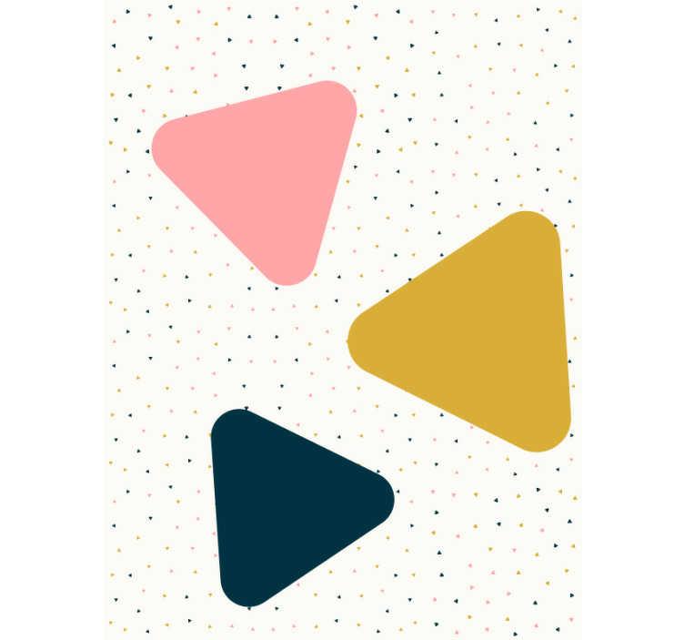 TenStickers. 壁纸三角形的雨. 圆形图案墙纸是一种装饰孩子房间中房间的绝佳方法。您可以轻松地将其应用在墙上,没有任何问题。