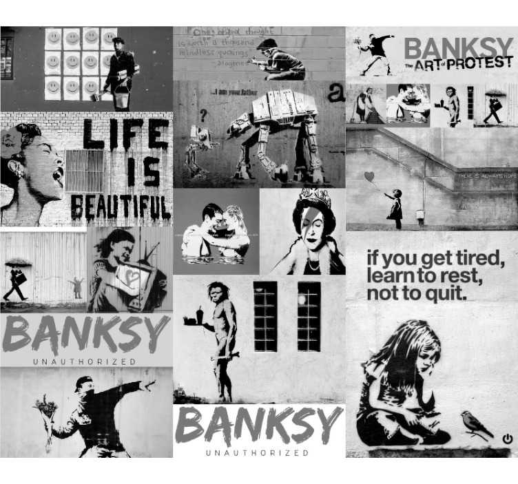 TenStickers. Modern wallpaper Banksy - grey collage. Banksy's work of art is something that we all love. His full of hidden meaning posters create a perfect artistic wallpaper, made especially for you.