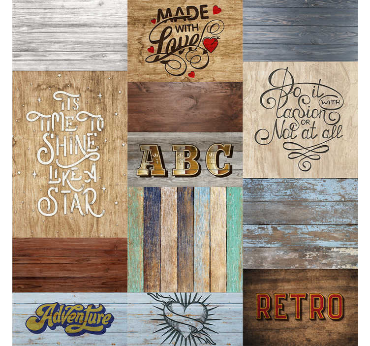 TenVinilo. Papel pintado para salón maderas grises con textos. Papel pintado de maderas grises acompañados con palabras o textos que quedarán geniales en tu salón Un producto de primera calidad.