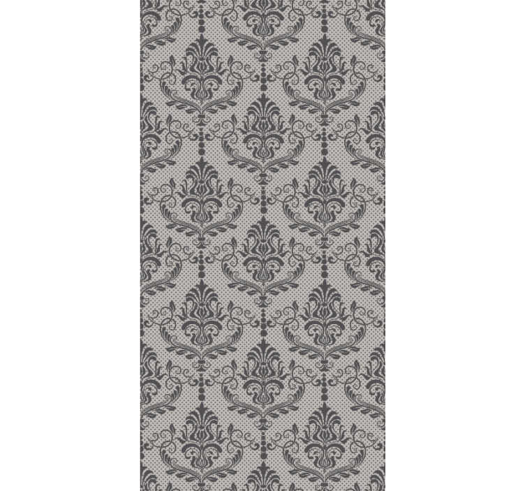 TenStickers. Autumn reverie Vintage Wallpaper. Sublime classic ornamental wallpaper with gray background and black drawings. An ideal product to decorate your living room.