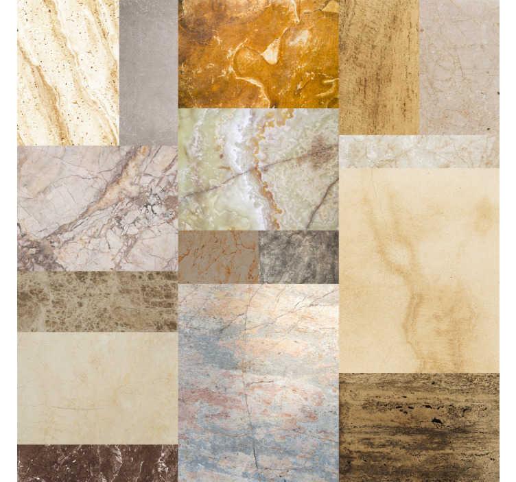 TenStickers. Mamor Rechtecke Wandtapete. Prächtige gemusterte tapete imitiert marmor, mit steinen in verschiedenen farben und texturen, die in ihren wänden großartig aussehen.