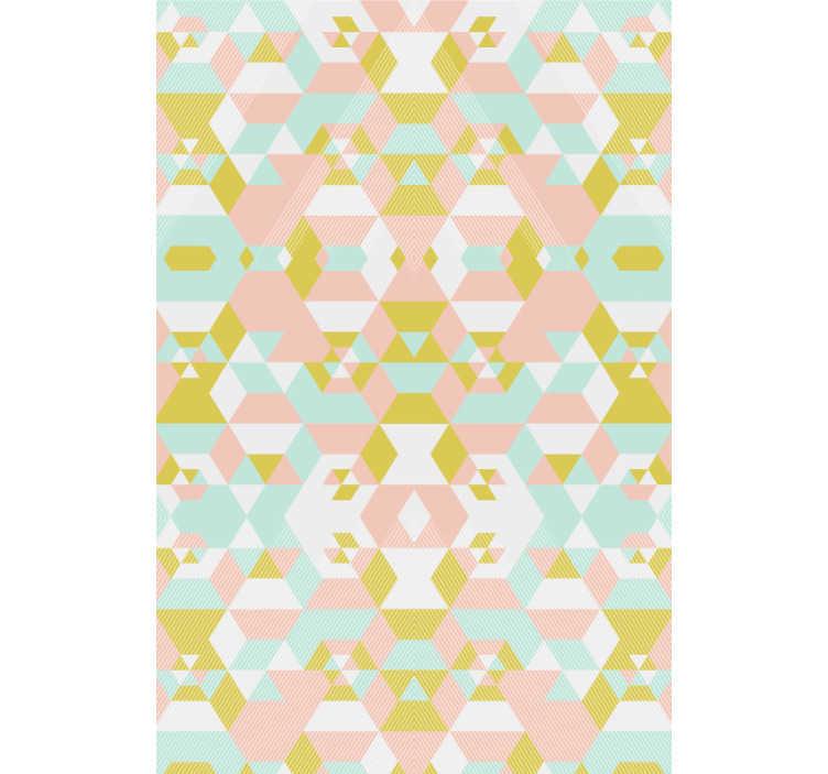 TenStickers. 拼布抽象壁纸. 这款色彩艳丽的几何形状墙纸可让您的卧室或客厅更加丰富多彩,并充满生机。