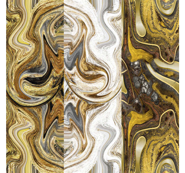 TenStickers. Painted Abstraction Textured Wallpaper. This abstract vinyl wallpaper whose pattern consists in an abstract painting in shades of white and gold, is perfect for decorating you home.