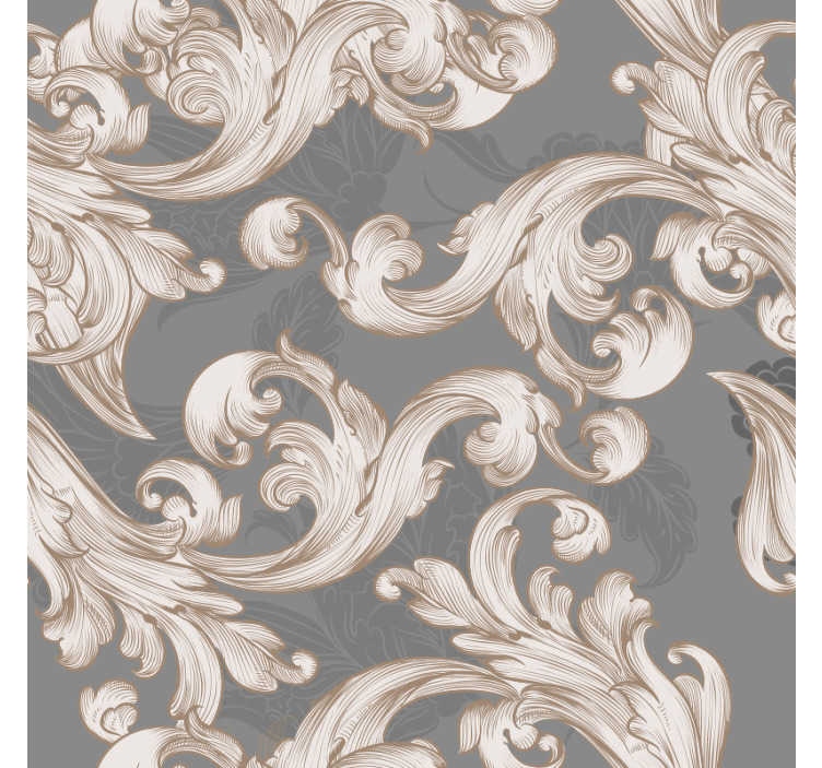 TenStickers. Belle grise Vintage Wallpaper. Do you want to add an exquisite touch to your decor? Then this white gold and gray ornamental decorative wallpaper is perfect for you.