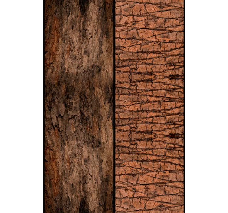 TenStickers. Time Craved in the Tree Vintage Wallpaper. Rustic nature wallpaper with a pattern formed by wide bands to imitate the wood of the tree trunks with two different types.