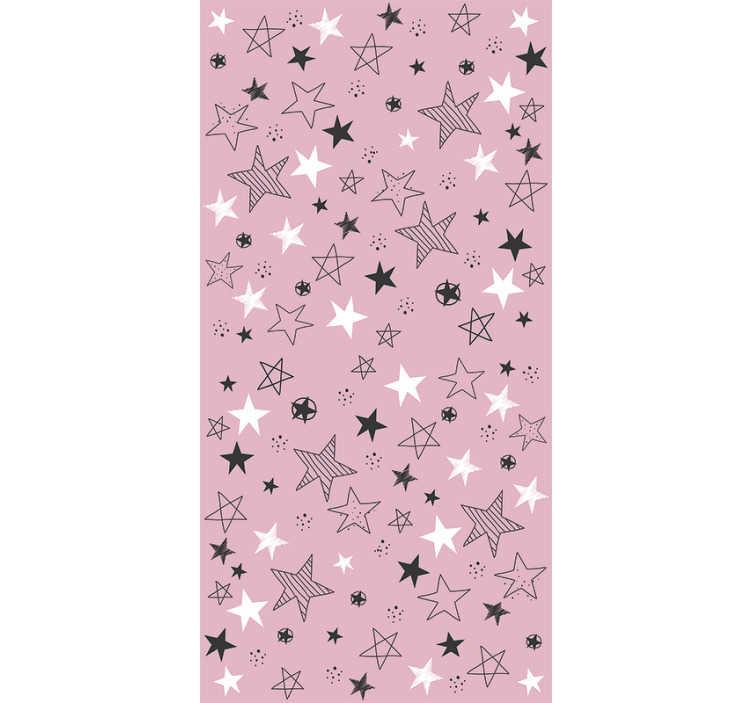 Tenstickers. Rosa stjärnor sovrum tapet. Fantastiska stjärnor vinyl tapeter med vita och svarta stjärnor på en rosa bakgrund som kommer att se bra ut i din dotters rum dekor!