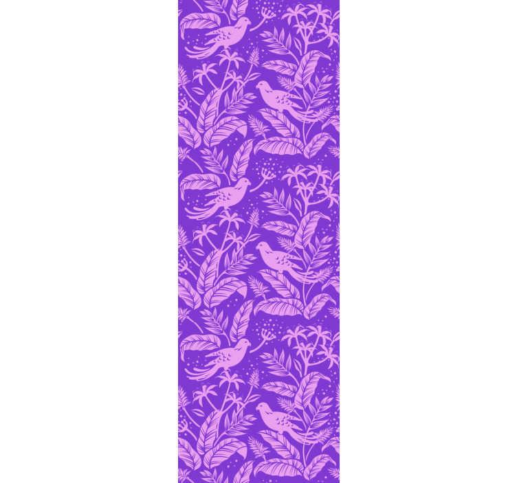 TenVinilo. Papel pintado animales pájaros lila. Exclusivo papel pintado animal con pájaros y flores que contiene un fondo lila con el que empapelar las paredes de la estancia que prefieras.