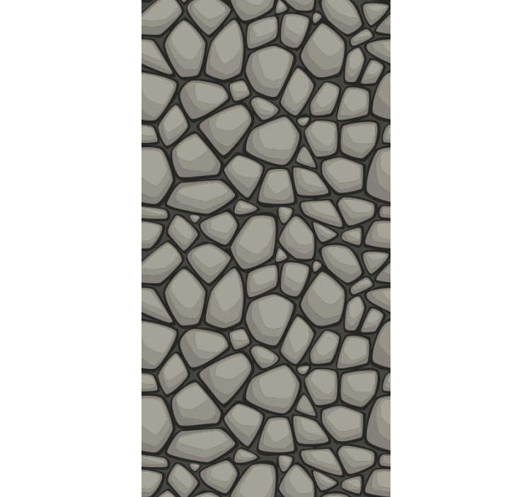 TenStickers. Greyscale Pattern Wallpaper. Spectacular textured wallpaper for children's room with a pattern imitating cobblestone in cartoon style perfect for kids room.