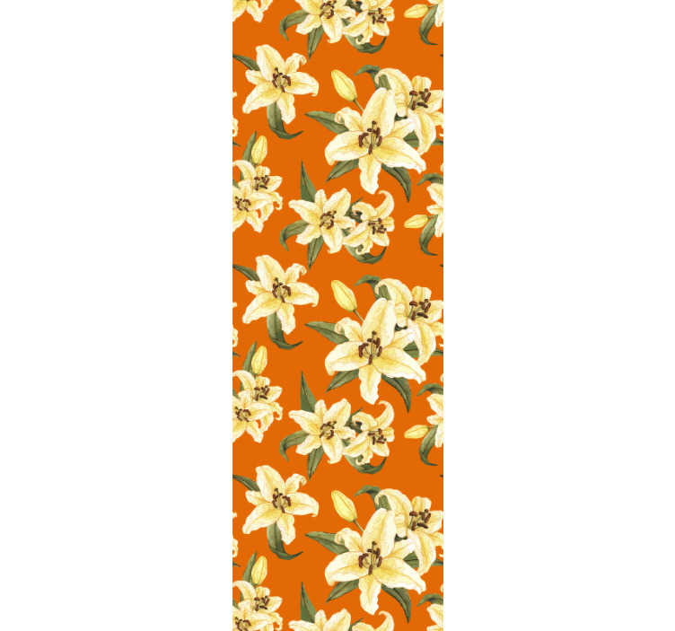 TenStickers. Flower Plaits Flower Wallpaper. This magnificent nature wallpaper with a pattern of yellow lilies on an orange background will look spectacular in your living room or dining room.