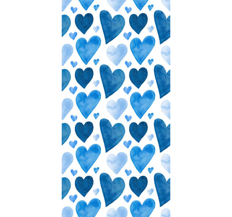 TenStickers. Sweet Hearts Bathroom Wallpaper. Creative abstract wallpaper with a pattern of hearts in various shades of blue and of different sizes in a watercolor style!