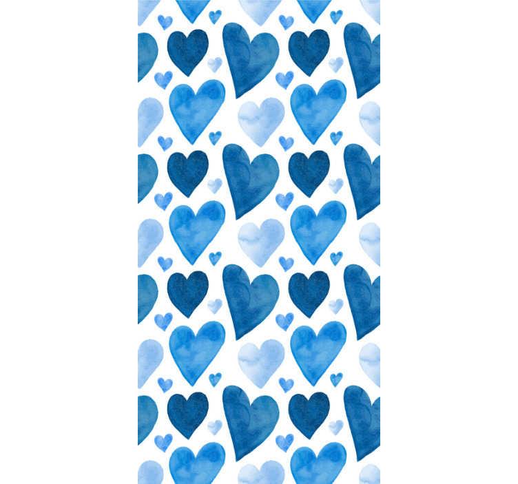 TenStickers. 甜心浴室壁纸. 创意抽象壁纸,图案的心中有深浅不一的蓝色,水彩风格的大小不同!