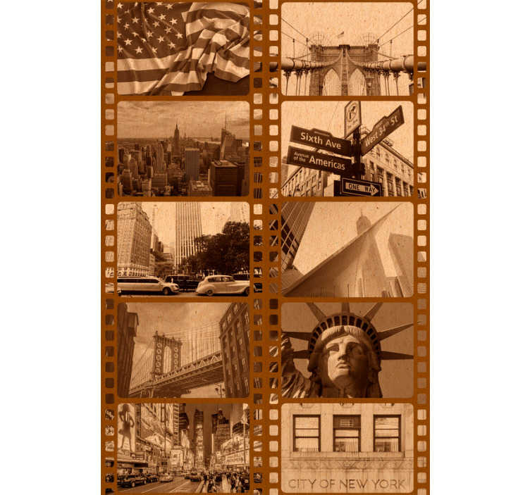 TenStickers. New York Sepia Film Wallpaper. Bring together your love of New York, Film and all things retro with this awesome sepia New York filmstrip wallpaper. Free delivery available!