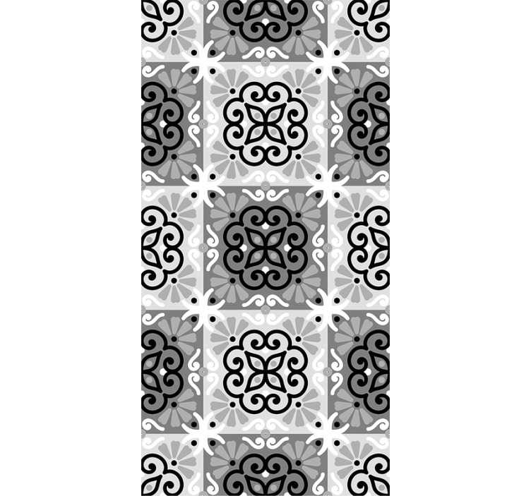 TenStickers. Black ornament Vintage Wallpaper. Ornamental wallpaper composed by a mosaic pattern with ornamental figures that alternate between white and black colors. Ideal for living rooms.