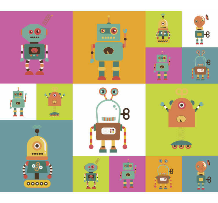 TenStickers. Fun robots children's bedroom Wallpaper. Looking for a fun and colourful wallpaper to decorate your little one's bedroom? This robot wallpaper is perfect for you!