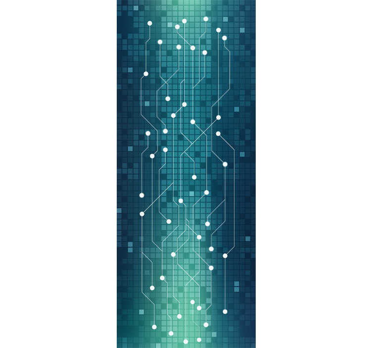 TenStickers. Abstract subway Abstract Wallpaper. This abstract wallpaper is simply stunning. This design features a beautiful blue pixelated background with what could be seen as subway lines!