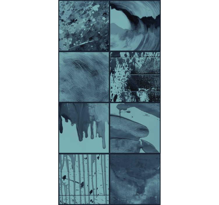TENSTICKERS. 雨の抽象的な壁の後ろの壁紙. 誰もが別の方法で解釈できるデザインの驚くほど抽象的な壁紙。それは雨ですか?波?今すぐ注文して調べてください!