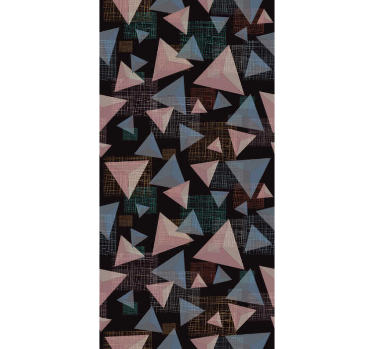 TenStickers. üçgenler soyut duvar kağıdı. Siyah bir zemin üzerine yerleştirilmiş çeşitli boyutlarda birden çok pembe ve mavi üçgen oluşan bir desen ile mükemmel modern duvar kağıdı.