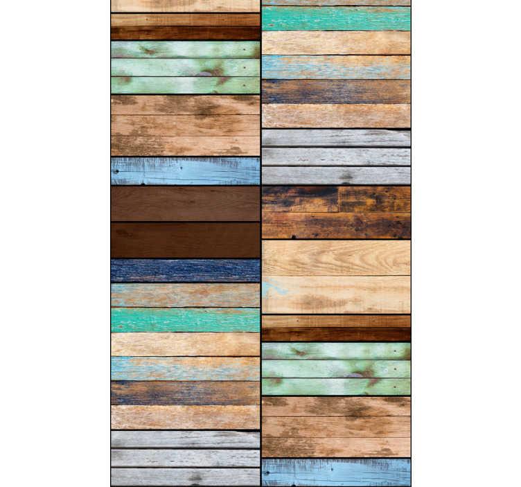 TenStickers. Motif papier peint Gamme solaire. Le design de cette tapisserie salle à manger se compose de planches de bois de différentes couleurs chaudes : pour une atmosphère chaleureuse.
