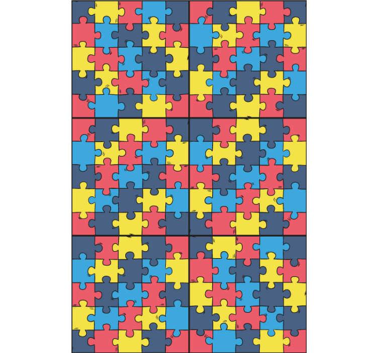 TenStickers. Papier peint graphique Puzzle arc en ciel. Le design de ce papier peint pour salle de bain est composé de plusieurs carreaux aux couleurs de l'arc-en-ciel, pour un effet unique.