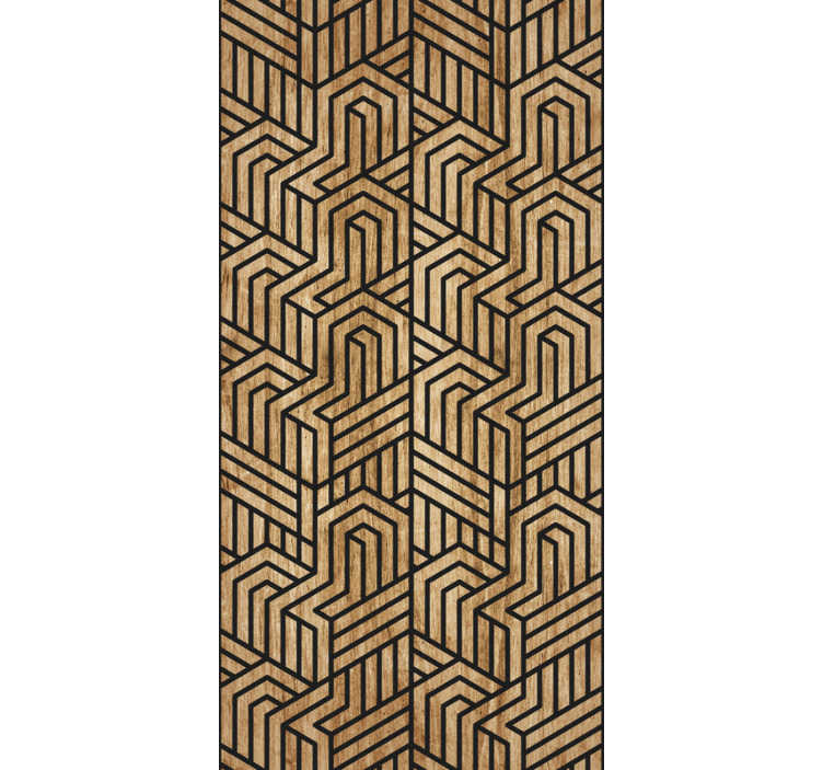 TenStickers. Carta da parati con motivi geometrici in legno. Questa straordinaria carta da parati per soggiorno moderna è composta da una forma geometrica che crea un'interessante illusione ottica sarà perfetta per la tua casa.