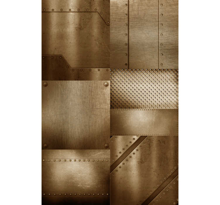 TenStickers. Wallpaper brass mosaic. How about having an unonventional decoration in your home? This textured wallpaper with the design of brass mosaic is perfect for modern interiors.