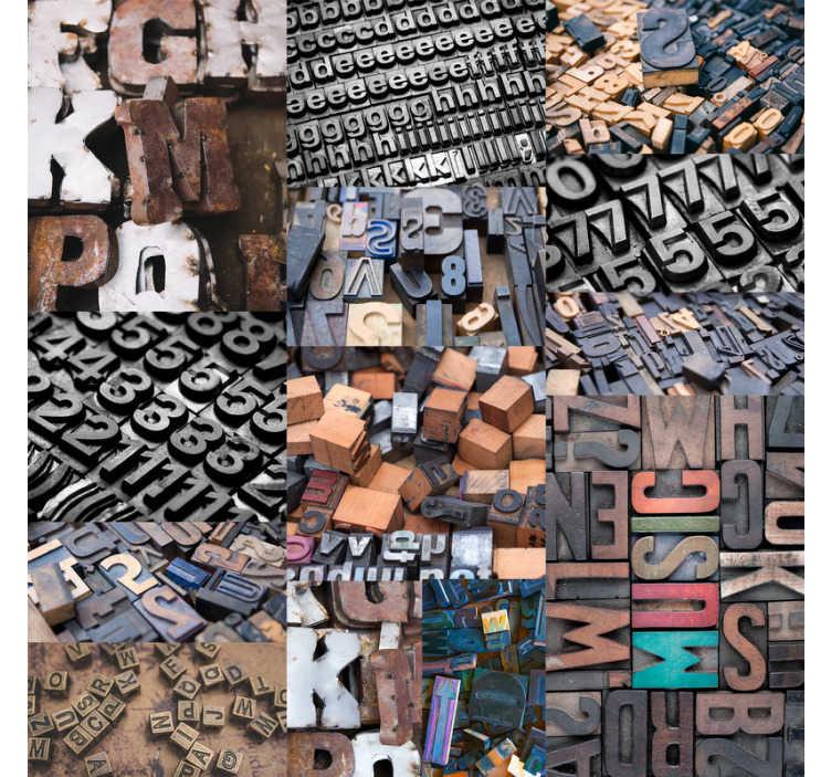 TenStickers. старинные буквы современные обои. мы знаем, что вы довольно уверены в своем алфавите, но всегда хорошо, когда вам напоминают эти обои с винтажными буквами. доставка по всему миру!