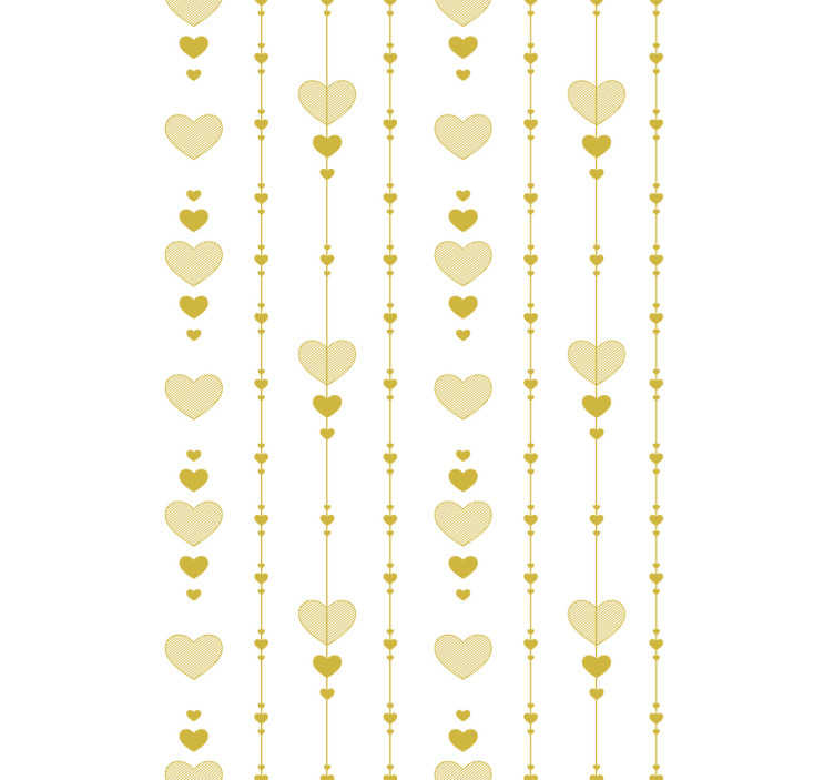 TenStickers. Heart of Gold Bedroom Wallpaper. Luxury wall paper design created in gold colour with hearts in an ornamental pattern that you will love. This design is easy to apply on the surface.