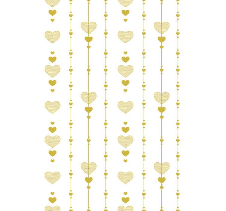 TenVinilo. Papel pintado abstracto corazones para dormitorio. Fantástico papel pintado en todo dorado con corazones perfecto para decorar tu dormitorio o salón de forma exclusiva. Fácil colocación. Envío exprés.
