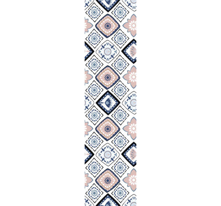 TenStickers. Ornamental Wallpaper pink and light blue flowers. Can you imagine anything better than this ornamental wallpaper? If not, have a look at this stunning decoration. Full of flowers, squares and diamonds