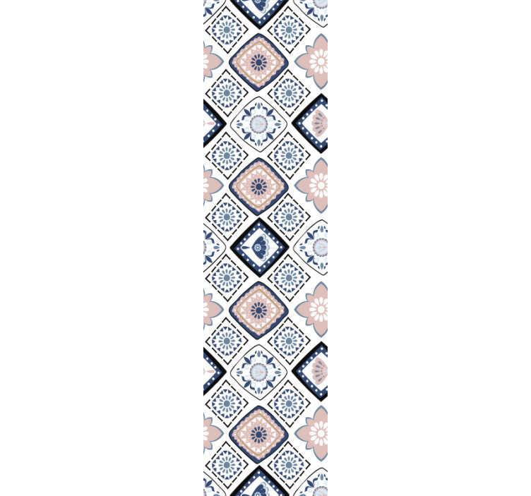 TENSTICKERS. 装飾用壁紙ピンクと水色の花. この装飾的な壁紙よりも良いものを想像できますか?そうでない場合は、この見事な装飾をご覧ください。花、正方形、ダイヤモンドでいっぱい