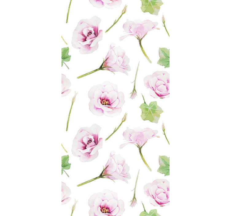 TenStickers. Nature Wallpaper Romantic pink flowers. This flower wallpaper will make your bedroom look cosy and full of romantic atmosphere. The design of subtle pink flowers and green leaves.