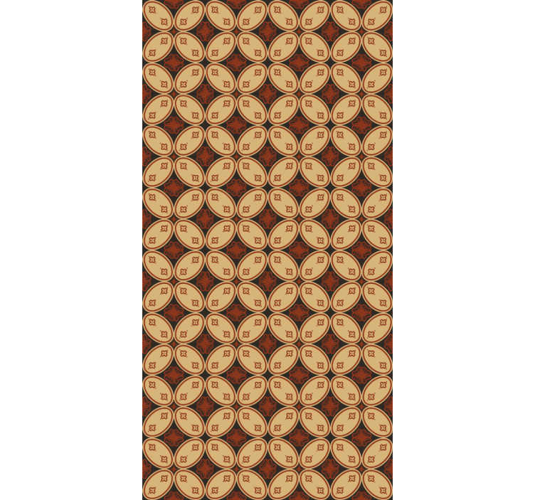 TenStickers. Vintage wallpaper retro motifs. The design of this vintage wallpaper shows brown ornaments with small flowers inside ovals. Order this high quality product today!
