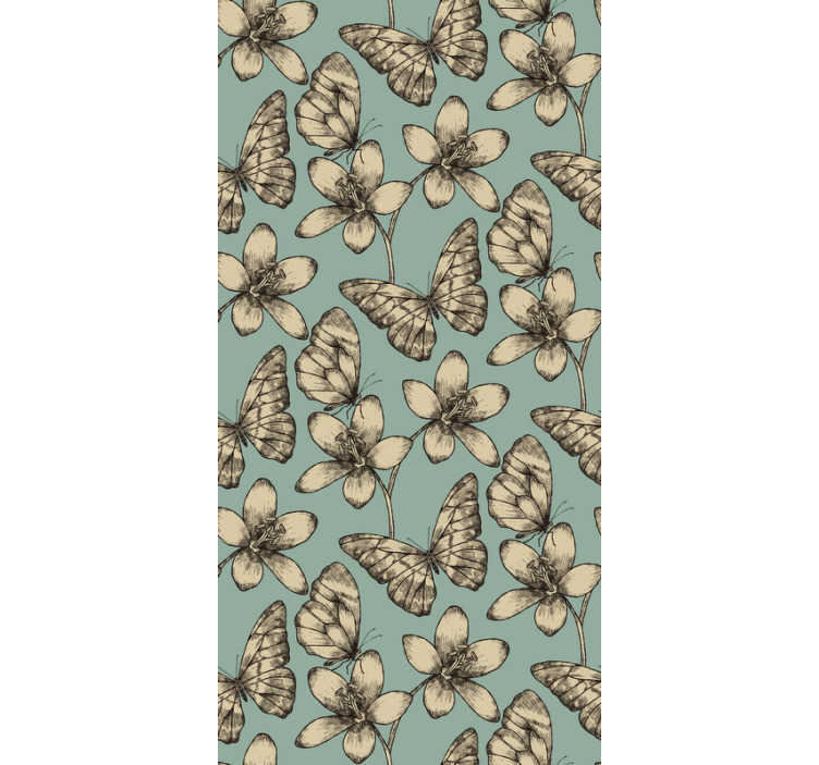 TenStickers. Living room wallpaper retro butterflies. Innovative way to decorate your rooms with this buterfly wallpaper. Make your house a magical and cosy place that you will not want to leave.