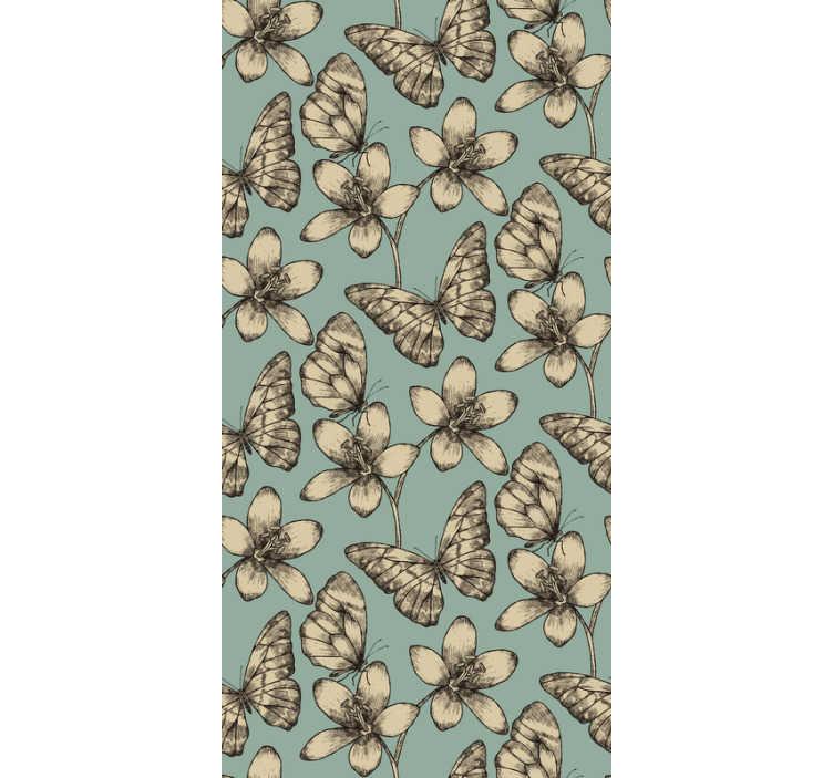 TenStickers. Retro Schmetterlinge Tapete. Innovative art, ihre zimmer mit dieser buterfly-tapete zu Aufkleberieren. Machen sie ihr haus zu einem magischen und gemütlichen ort, den sie nicht verlassen möchten.