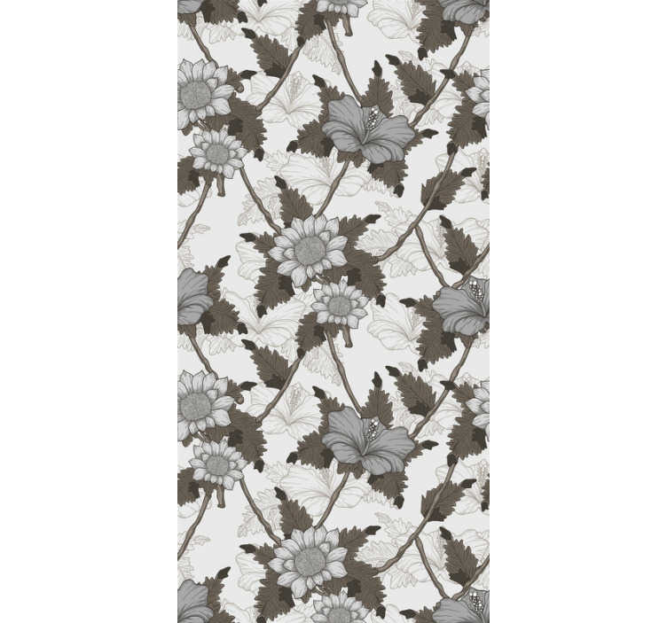 TenStickers. White Flowers Ornamental Wallpaper. is beautiful floral wallpaper is exactly what you need to decor your walls in a very original way. The product comes with application instructions.