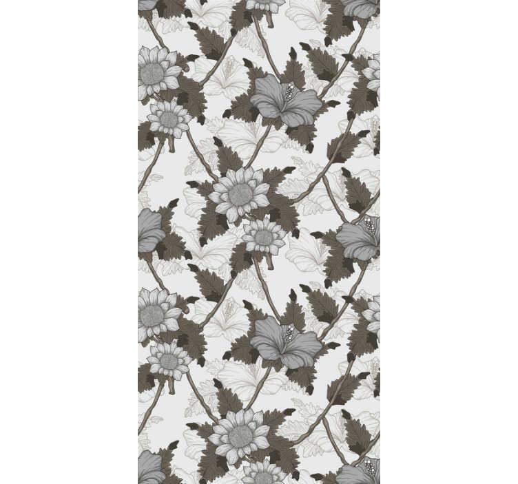 TenStickers. Wit bloemen sierbehang. Is prachtig bloemenbehang is precies wat je nodig hebt om je muren op een zeer originele manier te decoreren. Het product wordt geleverd met applicatie-instructies.