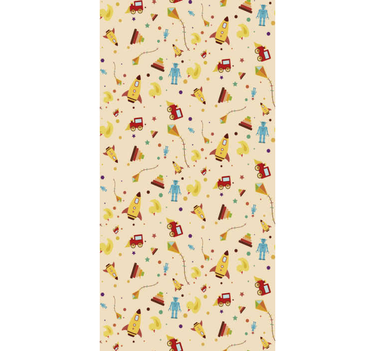 TenStickers. Vintage Toys Kids Wallpaper. Baby on the way? So, it's time to start decorating his/her room! This kids bedroom wallpaper with an amazing pattern composed by toys is perfect.