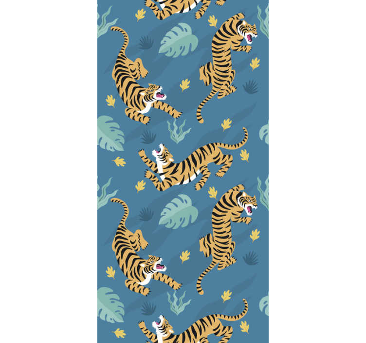 TenStickers. Tigers Nature Wallpaper. If you love oriental animal patterns, this animal wallpaper perfect with a pattern of fierce tigers in a dark blue background is perfect for you.