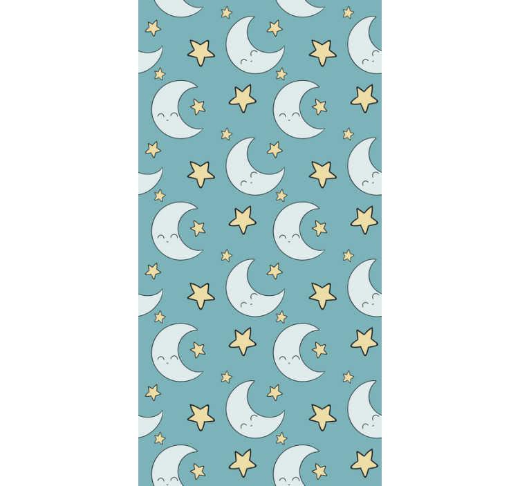 TenStickers. Sterren en maan kinder behang. Op zoek naar een prachtige manier om de babykamer te personaliseren? Dan is dit kinderkamerbehang met een patroon van manen en sterren perfect voor jou.