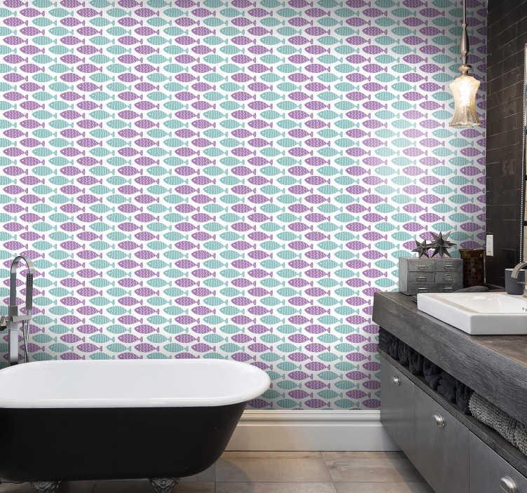 TenStickers. 儿童壁纸北欧风格鱼. 用卧室壁纸重新装修您的房子,卧室壁纸到处都是可爱的鱼,它们的确以美丽的色彩游动。高品质的材料!