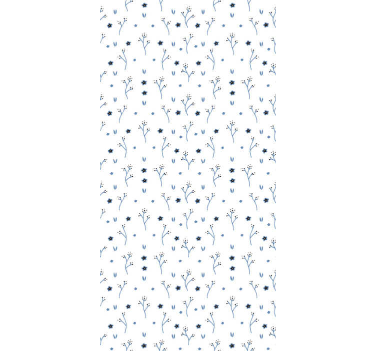 TenStickers. Nature Wallpaper light blue little flowers. Make your living room or dining room look spectacular and modern with this flower wallpaper. Blue lifght design on the white background.