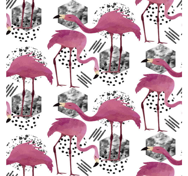 Tenstickers. Djur tapeter flamingos vintage. Rumstapet med flamingos och grått mönster på den vita bakgrunden är ett perfekt sätt att dekorera ditt hus. Högkvalitativ produkt!